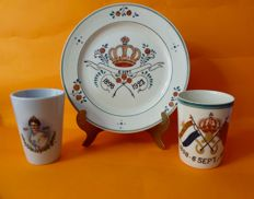 Earthenware beakers and plate - silver jubilee of Queen Wilhelmina