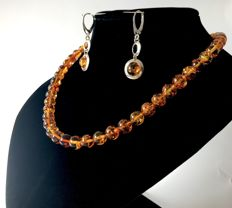 Necklace 46cm and sterling silver earrings 4.5cm with Baltic amber beads