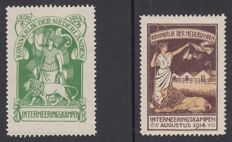 The Netherlands, 1916 - internment stamps - NVPH IN1/IN2, with inspection certificate