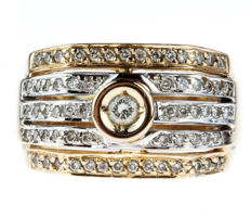 14 kt bicolour gold women's ring set with 64 diamonds – ring size 18