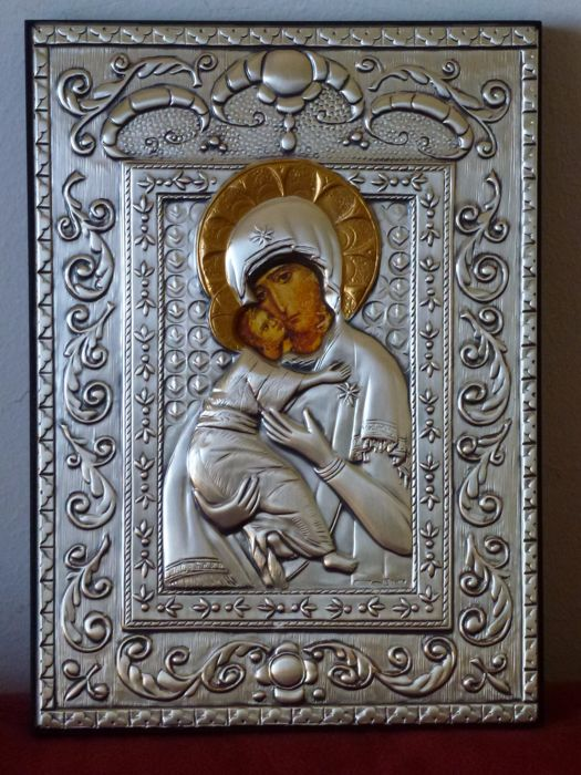 Orthodox Christian worship - Silver 925/1000 on wooden panel - Icon of Mary and Child - Ancona, Italy - 20th century