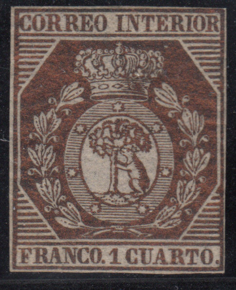 Spain 1853 – Coat of arms from Madrid. 1 quarter in bronze. Graus certificate – Edifil No. 22