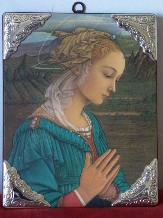 """Orthodox Christian worship - 4 925/1000 silver laminated friezes on the 4 corners of the wooden panel - icon of Mary praying . """"Ditta Pensieri"""" - 20th century"""