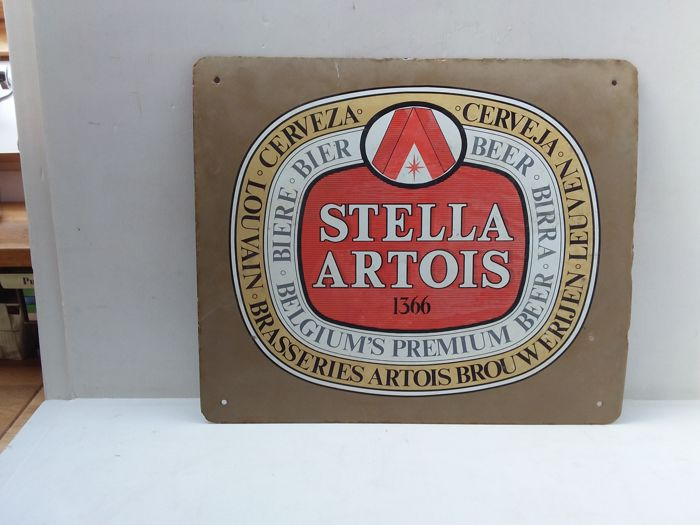 oud emaille stella artois bord - 1983.