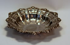 Antique Early 20th Century Silver Plate Bowl With Decorative Engravings