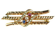 14 karat rose gold antique brooch with sapphire, diamond, ruby and orient pearls.