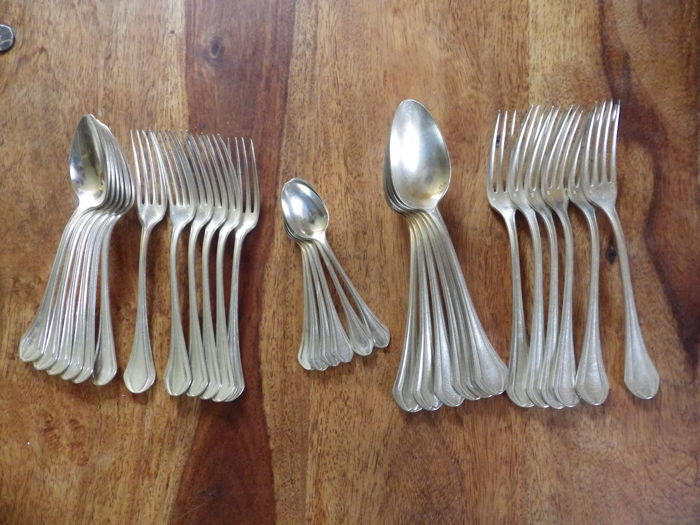 "Christofle antique - ""Printania"" model - 6 place settings (30 pieces)"