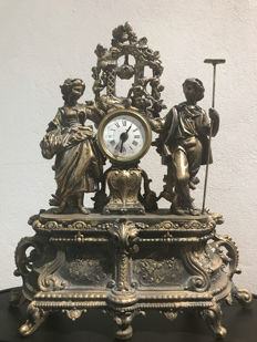 Large ornate mantel clock with figures - 1890