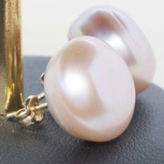 18 kt gold pendants with cultured peach pearls 14 mm