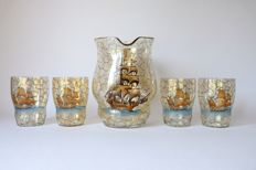 A jug and 4 hand-painted glasses with sailing ship decoration