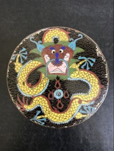 Antique Cloisonne Dragon Enamel Vase Tea Caddy Box and Cover - China - early 20th century