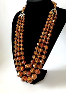 Collectible Art Deco 3 strand necklace from natural Baltic Amber, not pressed, weight 149.5 grams