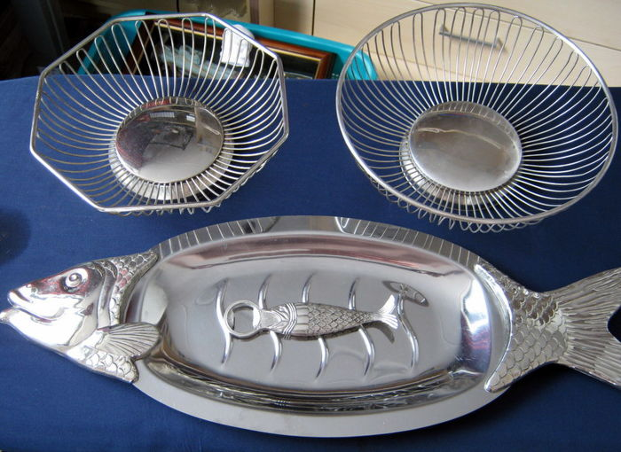Silver-plated Fish Serving Scale + Two WMF Alessi Fruit Shells and an Art Deco Bottle Opener