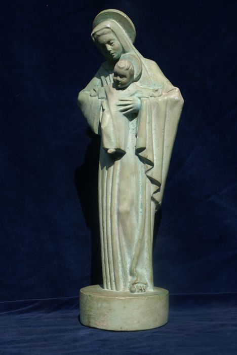 Holy sculpture of Mary and child , made by Rene Gourdon ( 1855 -  ? ) , France