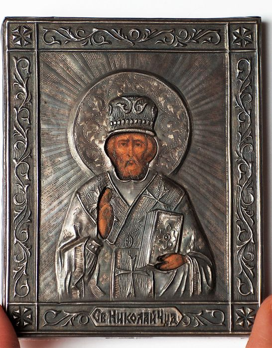 Miniature Russian  Orthodox Icon Nicholas the Wonderworker in Silver Frame 84 silver fineness