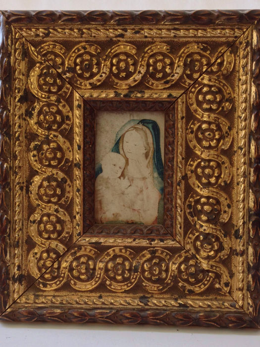 18th century - miniature of Mary with child on vellum in golden frame