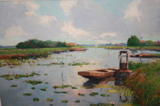 J Akkerga (20th century) - Vissers praam in de polder