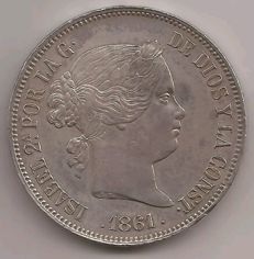 Spain - 20 silver reales - Isabel II - 1861 - Madrid - Silver