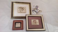 Interesting lot consisting of 2 small pictures made of 22kt gold leaf - horses theme - with a sculpture with horses and a ceramic sculpture
