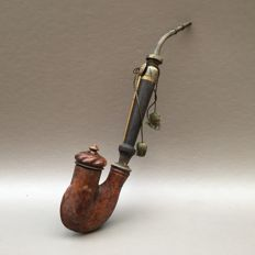 """Rootwood """"Ulmer Kloben"""" pipe with wooden lid - Germany, ca. 1860"""