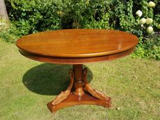 Walnut coffee table Empire style with decoration of swan-necks - 20th century