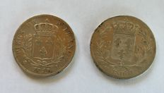 France - 5 Francs 1815-L & 1816-L (lot of 2 coins) - Louis XVIII - Silver
