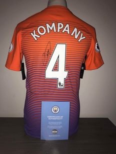 Vincent Kompany Manchester City alternative 2016-2017 shirt with certificate of Manchester City and certificate of authenticity