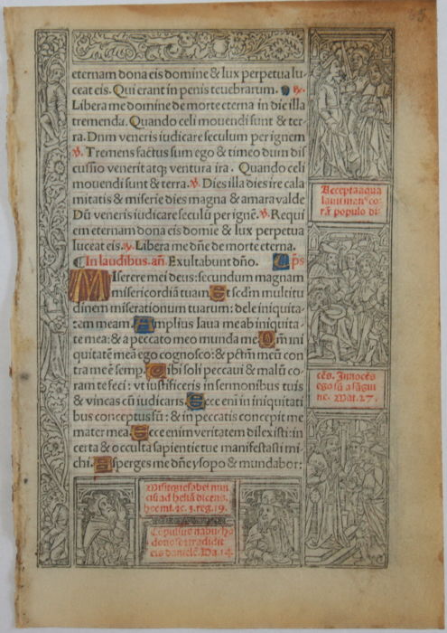 Original leaf from a book of hours from France - 1505