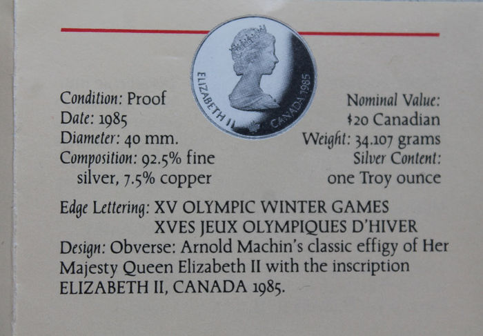 Canada – 20 Dollars 1986 'Olympic Winter Games in Calgary