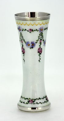 Vintage silver and enamel floral decorated small vase, Norway Circa.1940's