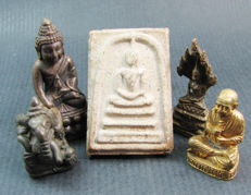 Five Buddhist amulets  - Thailand - 1967 to 2002.