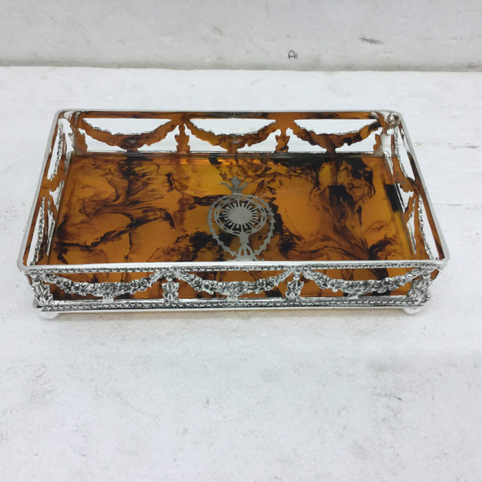 Silver plated metal and bakelite tray, England, late 20th century