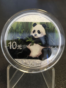 China – 10 Yuan 2017 'Panda' colour edition – silver