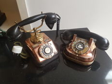 Set antique brass and bakelite phones Scandinavia first quarter 1900/Belgium 1930s RTT