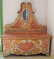Decorated fir wood chest, Trentino Baroque, Italy, first hald of the 19th century
