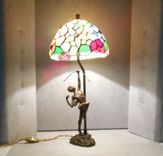 Magnificent bronze lamp after Pierre le Faguays, French, 20th century