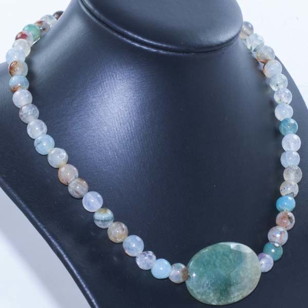 18 kt Gold Necklace with Faceted Agate – 42 cm