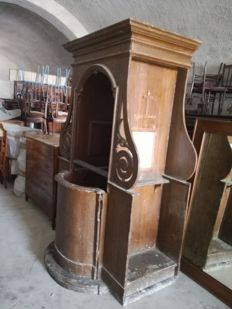 19th-century original confessional in wood