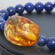 18 kt Gold and Lapis lazuli bracelet with amber centre - 21 cm