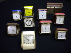 Lot of 10 travel alarm clocks from various brands, 1960s/1970s