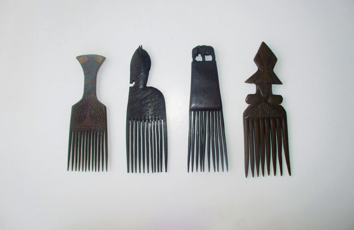 4 Tribal hand carved hair combs