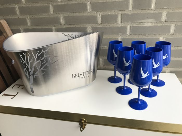 Set of Vodka accessories - big led Belverdere cooler and 6 blue acryl cocktail glasses of Grey Goose