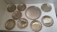 Lot of 8 beautiful dessert/fruit plates with serving tray, real solid Alpacca (German silver)