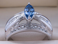 Certified gold cocktail ring with diamonds & tanzanite - 0.82 carat in total. **No reserve price**