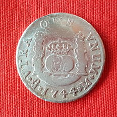 Felipe V - Columnario of 2 Reales Silver - Year 1744 Mint of Mexico -