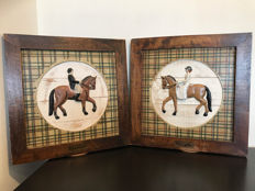 Two Atmospheric Frames of an Amazon and a Rider on their Horses - Metal Figures - Wooden Frames