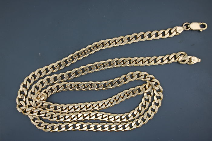 Curb chain necklace of 585 yellow gold - length 60cm