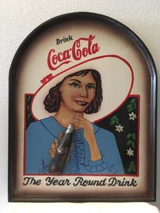 Coca Cola large wall plate of woman with bottle