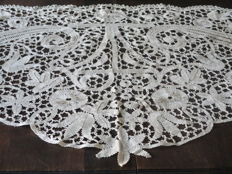 Large beautiful drapery trim or shawl made completely handmade from Bruges lace.