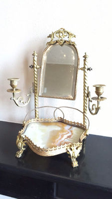 A brass make up mirror with candles holders - on marble base, France, first half of 20th century